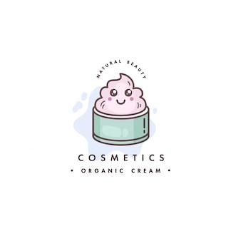 美容ケアのためのロゴデザインのエンブレムやバッジ。アジアの化粧品-クリーム。かわいい顔。