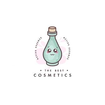 美容ケアのためのロゴデザインのエンブレムやバッジ。アジアの化粧品-ローションのフラスコ。かわいい顔。