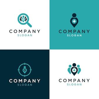 의료 인력 검색, 건강 로고, 의료 인력 로고를 위한 로고 디자인