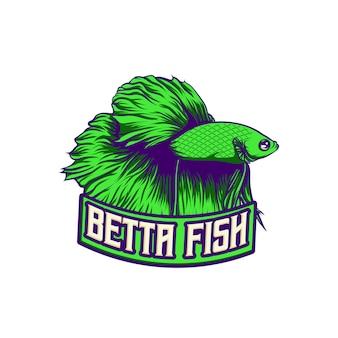 Logo design green red betta fish character