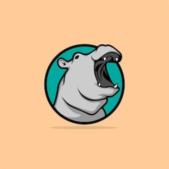 Logo design hippo's head of colorful