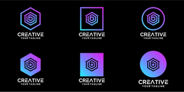 Logo design home combined with letter b template design