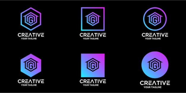 Logo design home combined with letter g template design