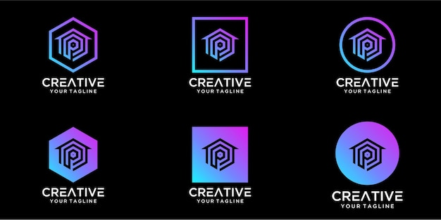 Logo design home combined with letter p template design