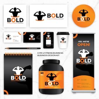 체육관 휘트니스 브랜드 로고 디자인 정체성 템플릿