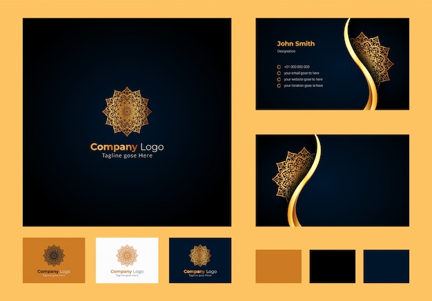 Logo design inspiration , luxury circular floral mandala and leaf element, luxury business card design with ornamental logo