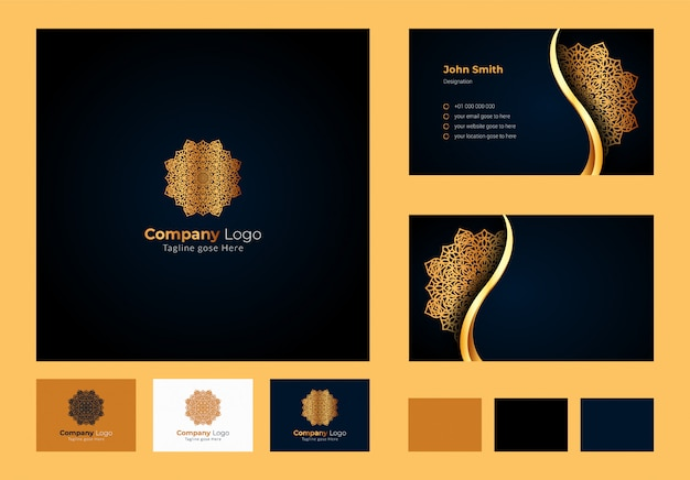 Logo design inspiration , luxury circular floral mandala, luxury business card design with ornamental logo