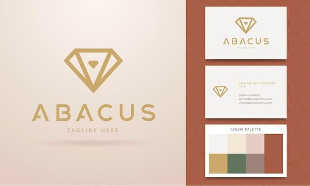 Logo design for jewelry with a geometric style diamond
