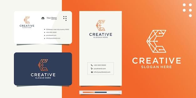 Дизайн логотипа буква c сеть градиентная цветовая линия и визитная карточка