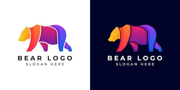 Дизайн логотипа современный медведь красочный или градиент
