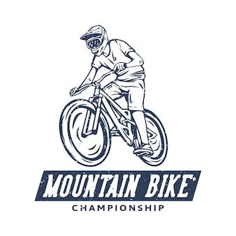Дизайн логотипа чемпионата по горным велосипедам с винтажной иллюстрацией маунтинбайкера