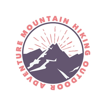 Logo design mountain hiking outdoor adventure with mountain flat illustration