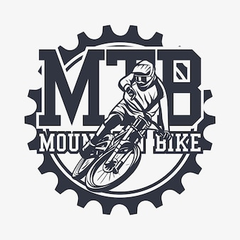 Logo design mtb mountain bike with man riding mountain bike vintage illustration