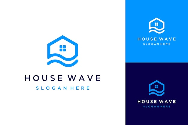 Дизайн логотипа здания или дома с волнами
