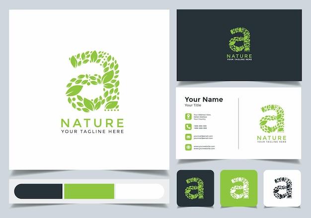 Дизайн логотипа начальной буквы a. leaf логотип с визитной карточкой