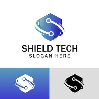 文字の盾と回路記号のアイコンのデザインと保護システム技術のロゴデザイン