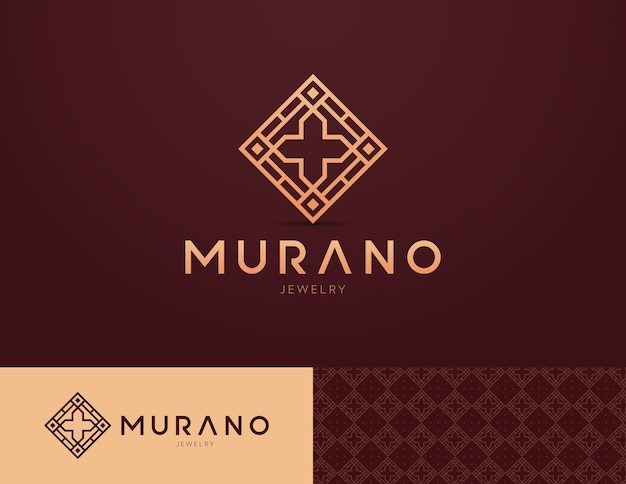 Logo design for religious jewelry with a cross and mosaics