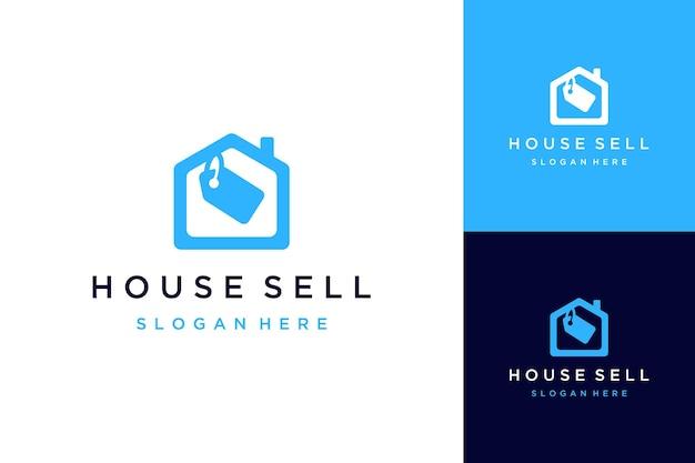Дизайн логотипа продажи домов или домов с ценниками