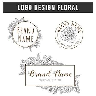 Logo design set floral rose hand drawn vintage