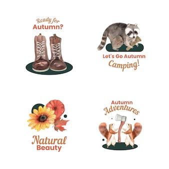 秋のキャンプのコンセプト、水彩スタイルで設定されたロゴデザイン