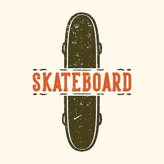 스케이트 보드 빈티지 일러스트와 함께 로고 디자인 스케이트 보드