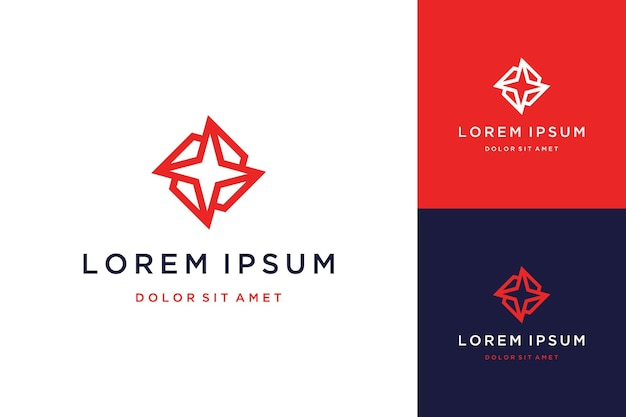 Logo design star abstract geometry with line art