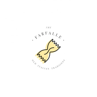 Шаблон дизайна логотипа и эмблема или значок. итальянская паста - фарфалле. линейные логотипы.