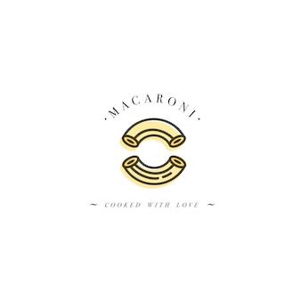 ロゴデザインテンプレートとエンブレムやバッジ。イタリアのパスタ-マカロニ。線形ロゴ。