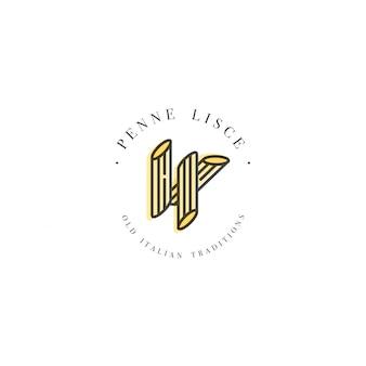 ロゴデザインテンプレートとエンブレムやバッジ。イタリアのパスタ-ペンネ・リス。線形ロゴ。