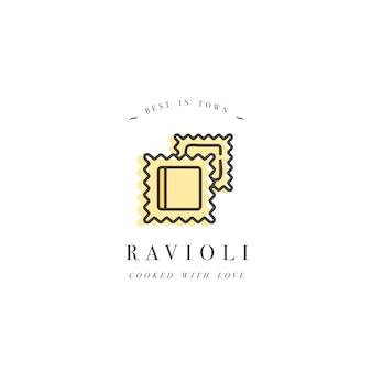 ロゴデザインテンプレートとエンブレムやバッジ。イタリアのパスタ-ラビオリ。線形ロゴ。