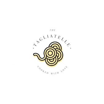 ロゴデザインテンプレートとエンブレムやバッジ。イタリアのパスタ-タリアテッレ。線形ロゴ。