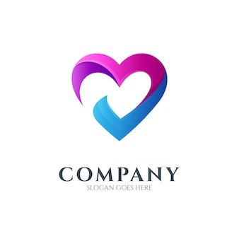 Logo design template of heart or love combination with check mark