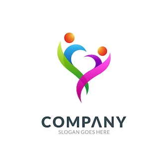 Logo design template of heart or love combination with two people icon