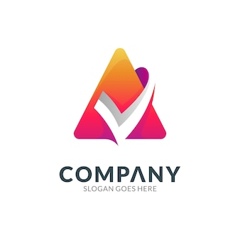 Logo design template of letter a combination with check mark