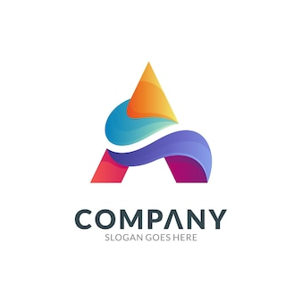 Logo design template of letter a combination with wave