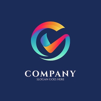 Logo design template of letter g combination with check mark