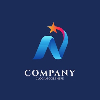 Logo design template of letter n combination with shooting star