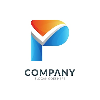 Logo design template of letter p combination with check mark