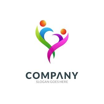 두 사람 아이콘이 있는 심장 또는 사랑 조합의 로고 디자인 템플릿