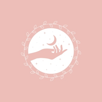 Logo design template in trendy linear minimal style - hands, moon and stars.