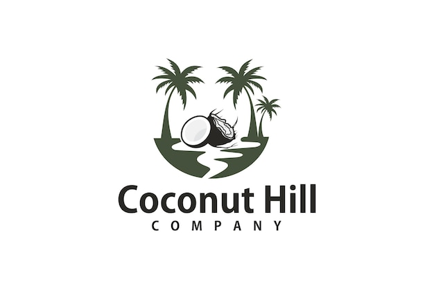 Дизайн логотипа три кокосовых пальмы в море
