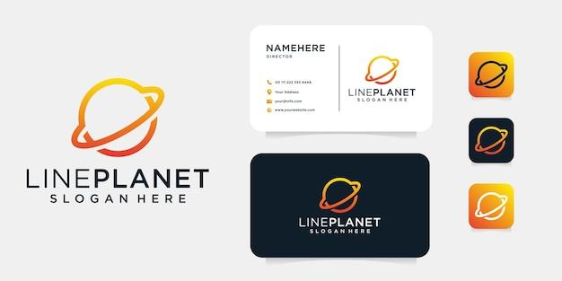원형 고리가있는 행성을 묘사 한 로고 디자인.