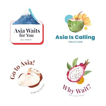 水彩ベクトルイラストのブランディングとマーケティングのためのアジア旅行コンセプトデザインのロゴデザイン