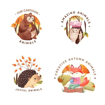 수채화 스타일의 가을 동물 로고 디자인