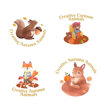 Logo design with autumn animal in watercolor style