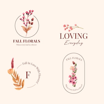 Logo design with autumn flower concept for brand and marketing watercolor illustration.