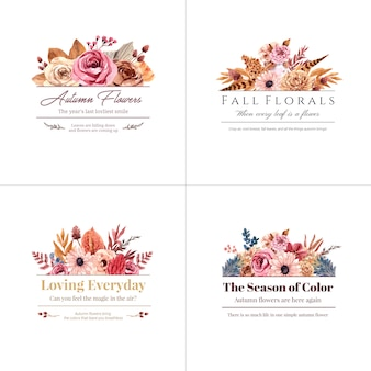 ブランドとマーケティングの水彩イラストの秋の花のコンセプトのロゴデザイン。