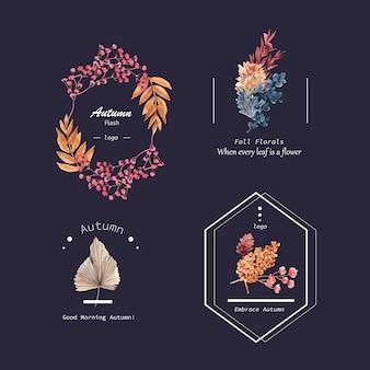브랜드 및 마케팅 수채화 그림 가을 꽃 개념 로고 디자인.