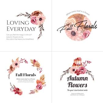 ブランドとマーケティングのための秋の花のコンセプトのロゴデザイン