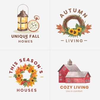秋の家の居心地の良いコンセプト、水彩スタイルのロゴデザイン